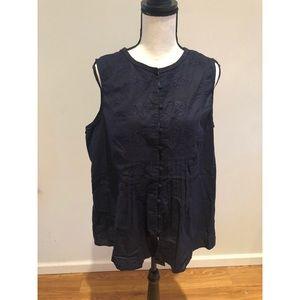 Cynthia Rowley Navy Blue Floral Sleeveless Top